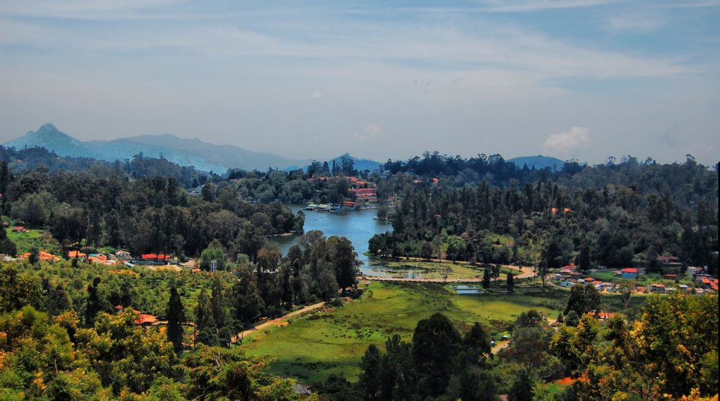 aerial view of kodaikanal with lake and lush green forest
