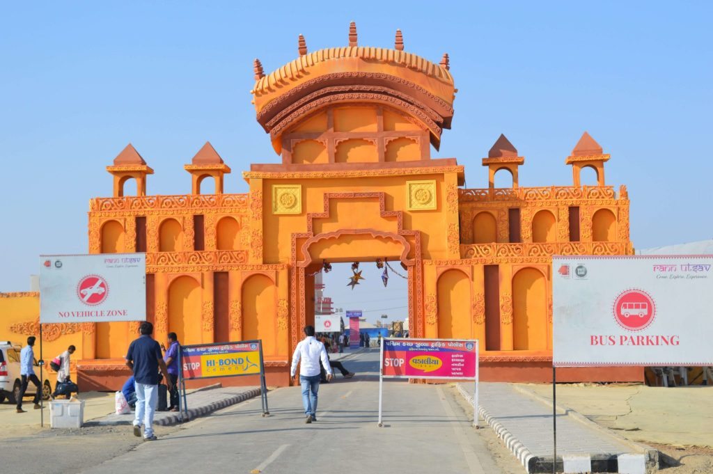 entrace of tent city in rann of kutch