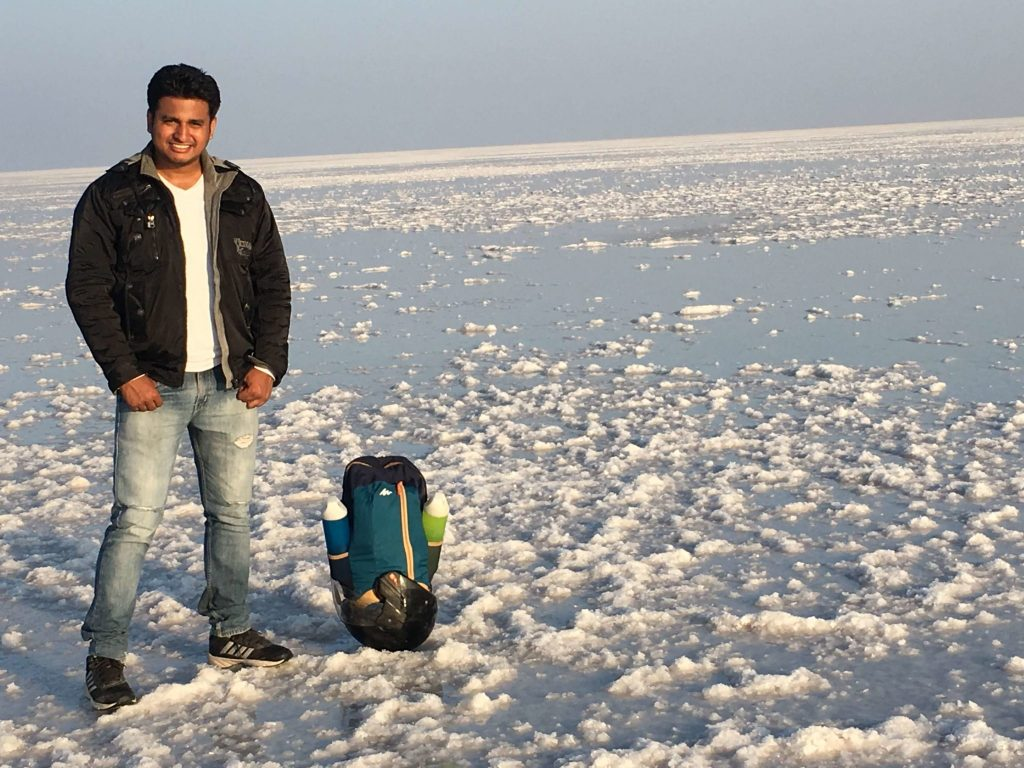 man standing at rann of kutch