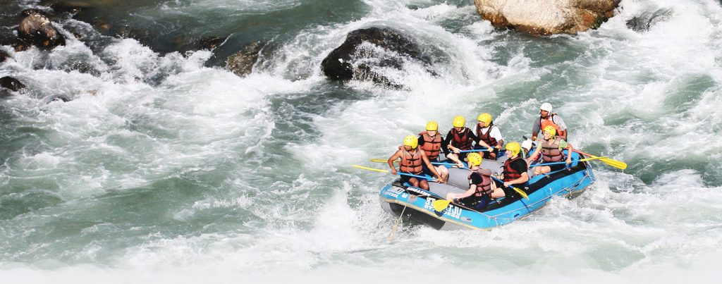 people doing rafting in river