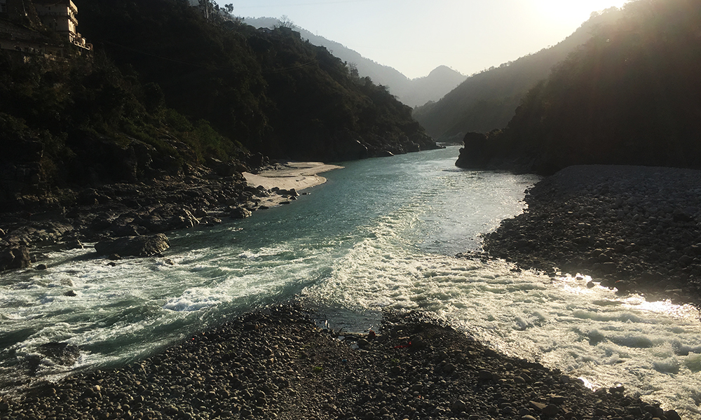 rudraprayag confluence of rivers and valley in background