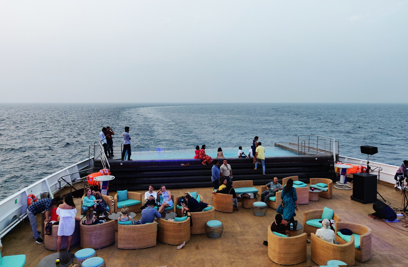 open deck area in Angriya Cruise Ship