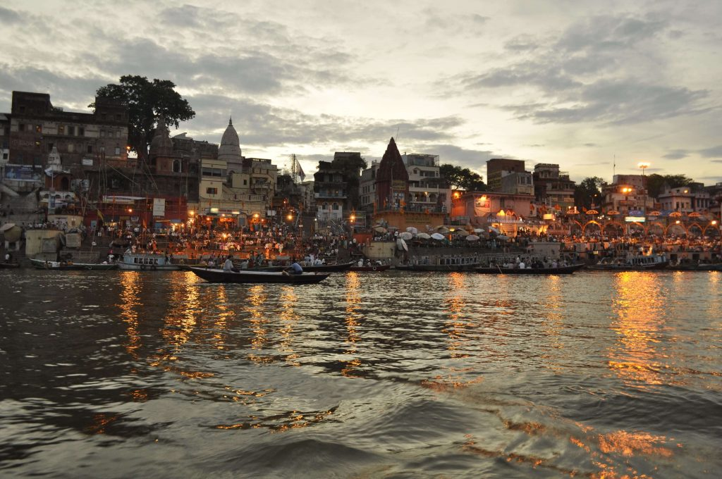 bank of varanasi is seen from a boat ride
